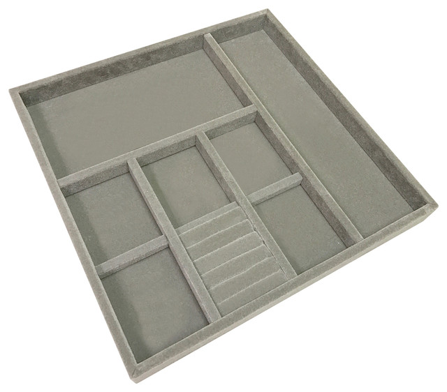Velvet Jewelry Tray, Silver, Large