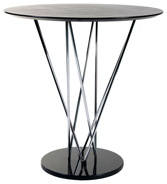 Eurostyle Stacy Round 41x41 Bar Table In Black/Ebony U0026 Chrome  Contemporary Indoor