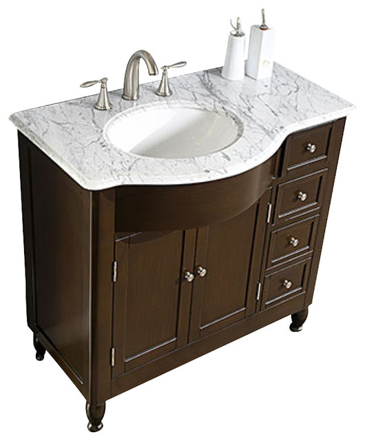 38 inch modern single sink bathroom vanity with white marble traditional bathroom vanities for Single sink consoles bathroom