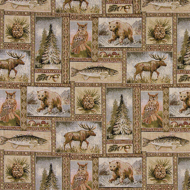 Bears Moose Trees Acorns Fish Theme Tapestry Upholstery Fabric By The Yard