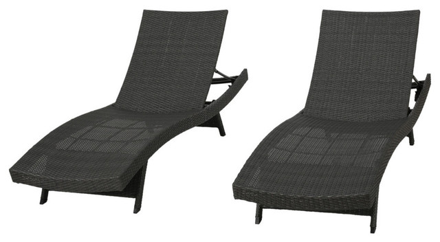 Groovy Gdf Studio Olivia Outdoor Gray Wicker Chaise Lounge Chairs Set Of 2 Pabps2019 Chair Design Images Pabps2019Com