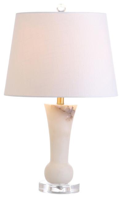 "Eliza 23"" Alabaster Table Lamp, Crystal Base."