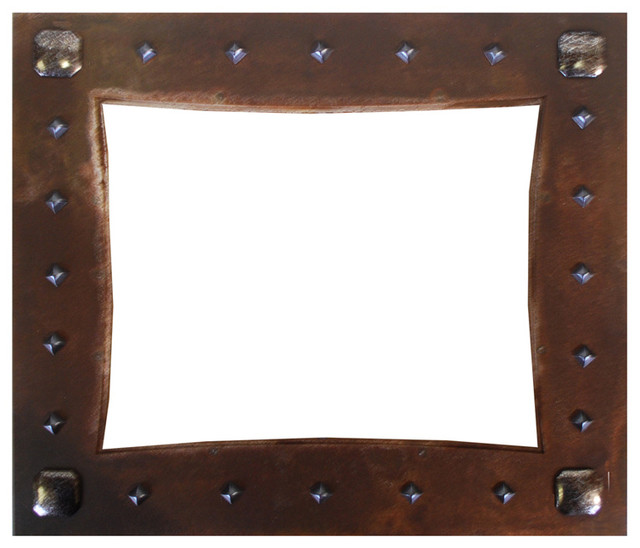 Rustic Nail Head Embellished Iron Picture Frame 8X10  : rustic picture frames from www.houzz.com size 640 x 548 jpeg 60kB