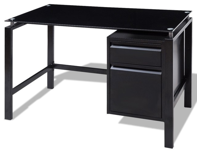 Glass Top Metal Frame Computer Desk With Drawers.