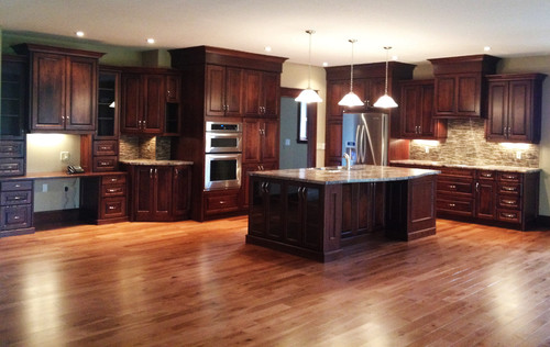 Love The Color Of Floor With Cherry Cabinets What Are They