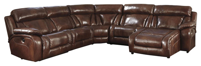 Shop houzz ashley furniture homestore elemen 6 peice for Flexsteel 4 piece sectional sofa with right arm facing chaise in brown