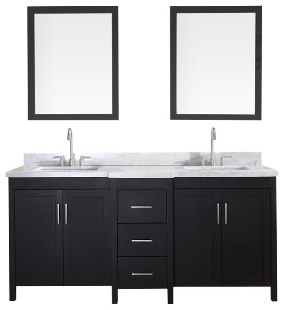 """Ariel Hollandale 73"""" Double Sink Vanity Set, Black, Black."""