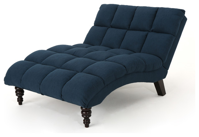 Tom Traditional Tufted Fabric Double Chaise, Navy Blue.