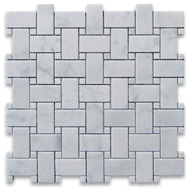 X Carrara White Basketweave Mosaic Carrara White Dots - Carrara basketweave tile gray dot