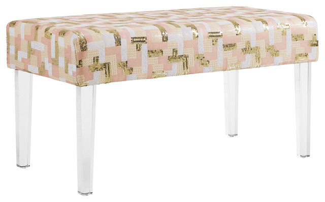 Stella Sequin Colorblock Acrylic Leg Bench.