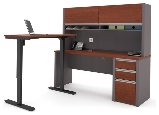 l desk with hutch including electric adjustable table bordeaux and slate contemporary desks. Black Bedroom Furniture Sets. Home Design Ideas