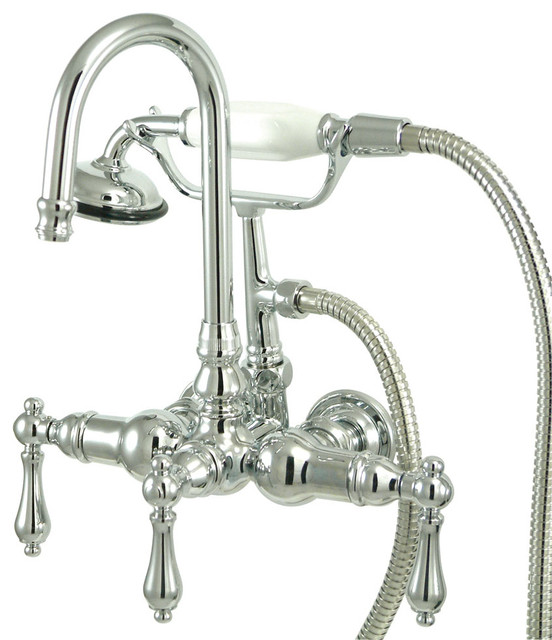 Kingstonbrass Vintage Wall Mount Clawfoot Tub Filler With Hand Shower Polish