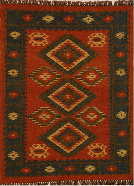 Handwoven Jute and Wool Diamond Rug, Red, Black, and Tan, 8'x11'