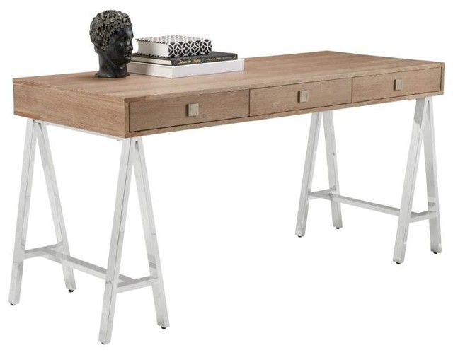 Contemporary Desk Gently Distressed Oak Veneer