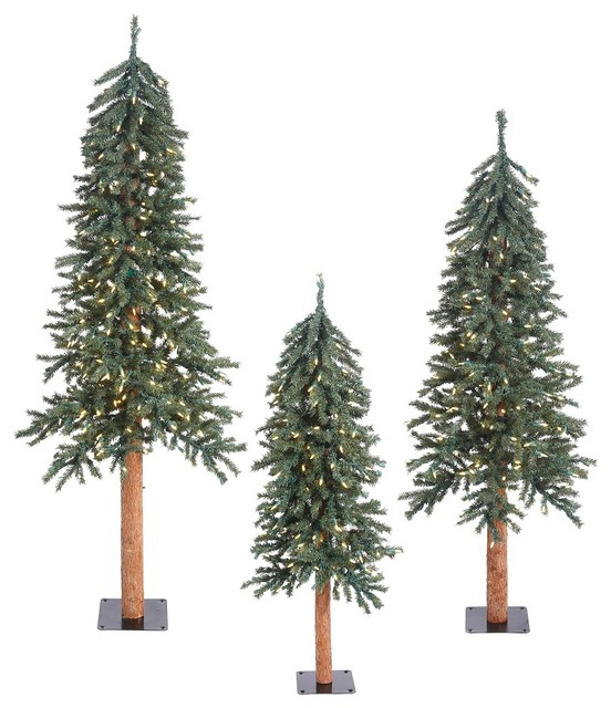 Vickerman Natural 3 Piece Bark Alpine Tree Set View In