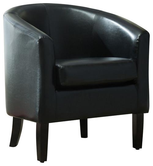 Modern Club Chair Barrel Design, Faux Leather, Black
