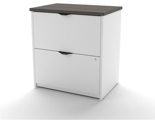 Bestar Innova 2 Drawer Lateral File White And Antigua Contemporary Filing Cabinets