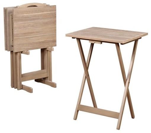 Acacia Gray Tray Table Set Transitional Tv Trays