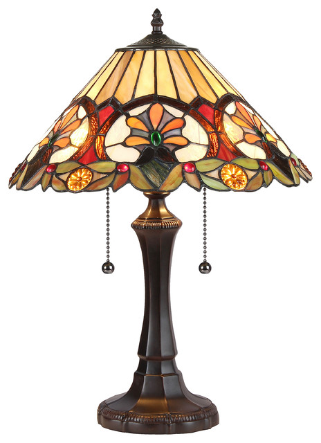 Sappho, Tiffany-Style 2 Light Floral Table Lamp, 16 Shade.