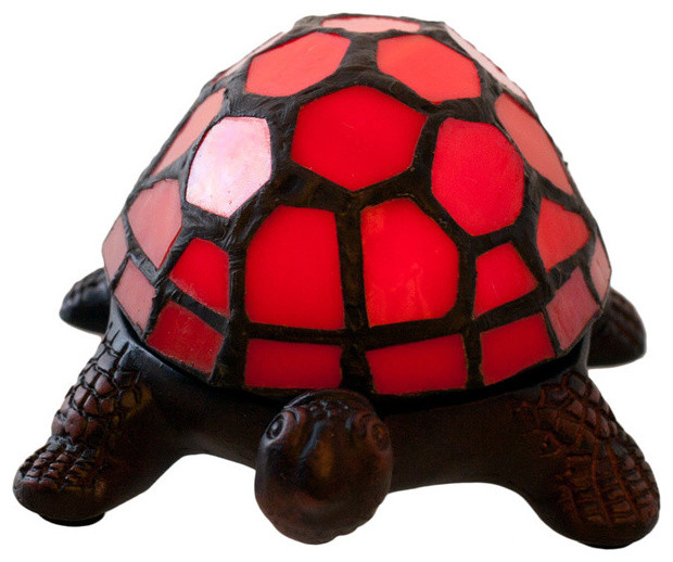 River of goods stained glass 25 battery operated wireless red 25 stained glass led wireless turtle accent lamp red traditional novelty lighting mozeypictures Gallery