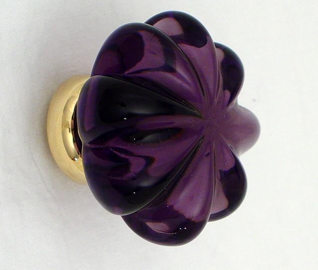 Purple glass knobs