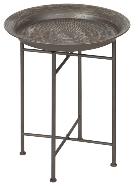 Kate And Laurel Mahdavi Hammered Metal Tray End Table Pewter