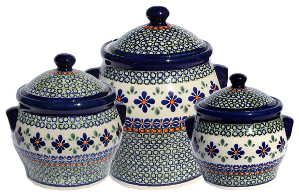 Polish Pottery Canister Set Pattern Number Du60set Farmhouse Kitchen Canisters And