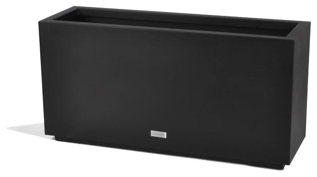 Metallic Series Long Box Planter, Black, Medium