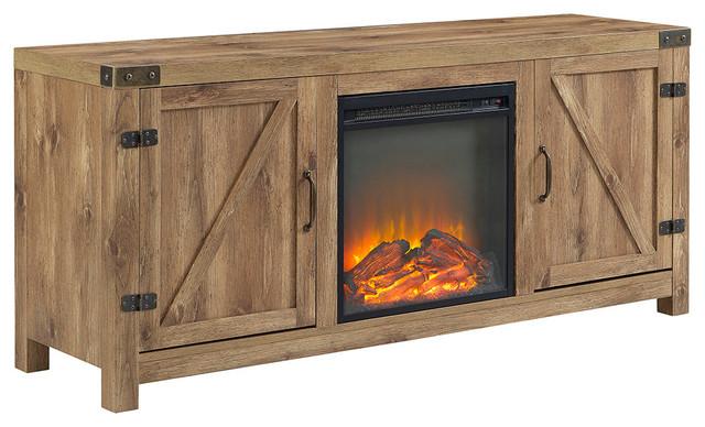 58 Quot Barn Door Fireplace Tv Stand Rustic Entertainment