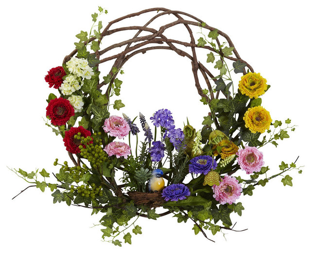 22 in. Spring Floral Wreath in Multi
