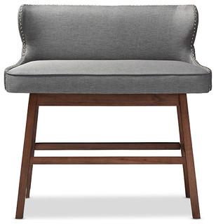 Gradisca Fabric Button Tufted Upholstered Bar Bench Banquette   Midcentury    Dining Benches   By Baxton Studio
