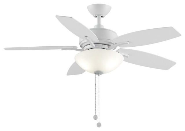 "Aire Deluxe 44"" Ceiling Fan, Matte White Blade, Frost."