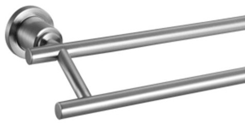 Geneva 24 Inch Double Towel Bar Satin Nickel Modern Towel