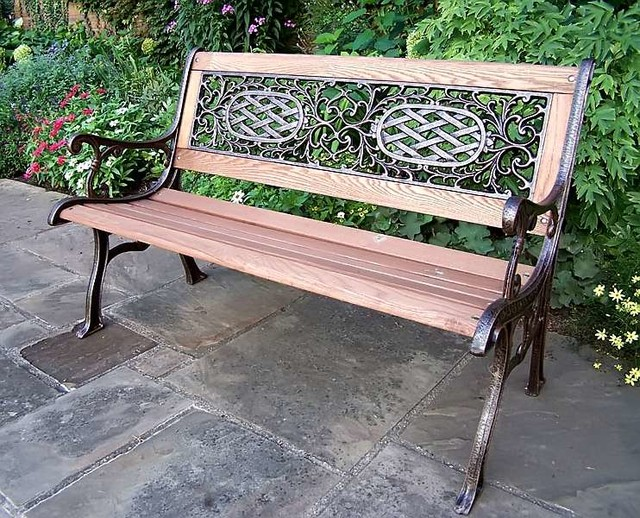 Cast Iron And Oak Wood Bench Contemporary Outdoor Benches By Shopladder