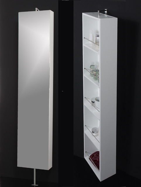 Powder room. Mirror rotating cabinet