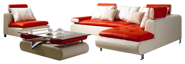 Soflex Colorado Ultra Modern White Red Genuine Leather Sectional Sofa Set 3pcs.
