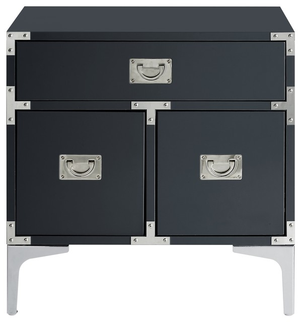 Monica Modern Lacquer Finish Chrome Metal Leg Side Table Contemporary Nightstands And Bedside Tables By Inspired Home
