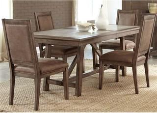 Liberty Furniture Stone Brook 5-Piece Trestle Dining Set, Saddle