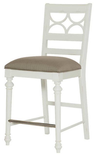 Lynn Haven Fret Work Counter Stool by American Drew Dover White traditional bar