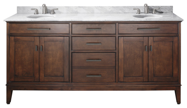 Avanity Madison 73 Double Vanity In Tobacco Finish, Carrera White Marble Top.