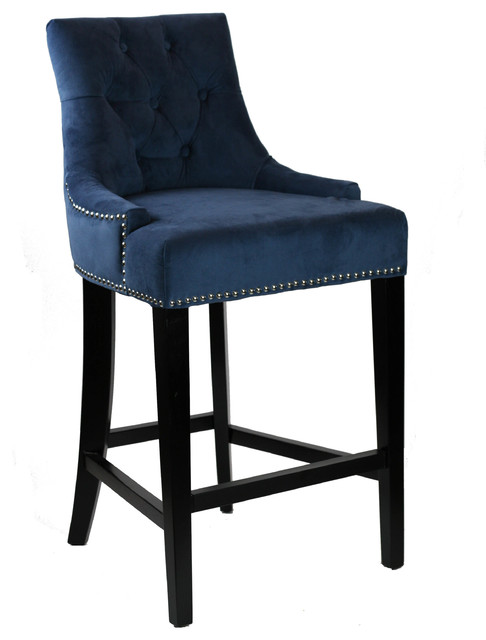 Blue Velvet Fabric Tufted Counter Stool With Silver Nail  : traditional bar stools and counter stools from www.houzz.com size 486 x 640 jpeg 39kB