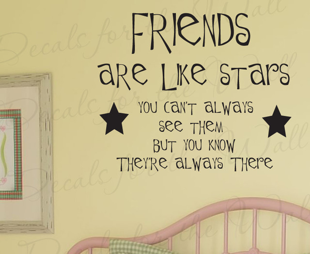 Wall Sticker Decal Quote Vinyl Lettering Friends Are Like Stars Friendship  FR5 Modern Wall  Part 67