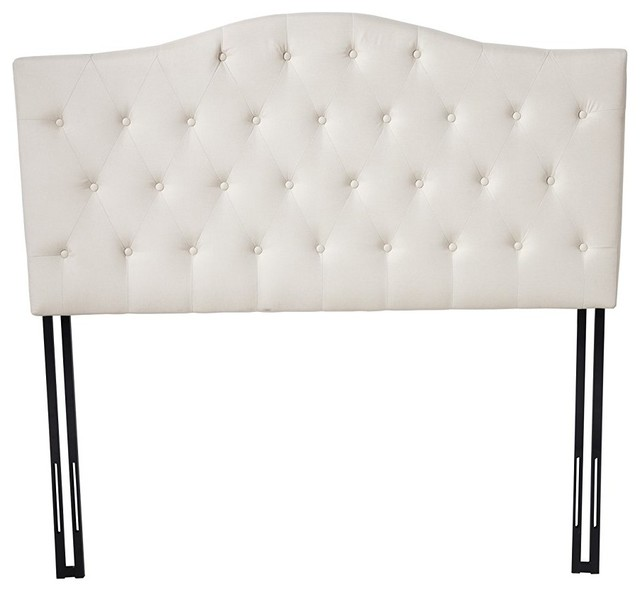 classic deluxe tufted fabric headboard ivory full
