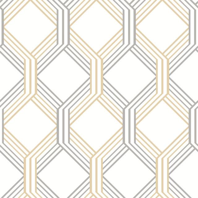linkage gold trellis wallpaper swatch contemporary wallpaper - Trellis Wall Paper