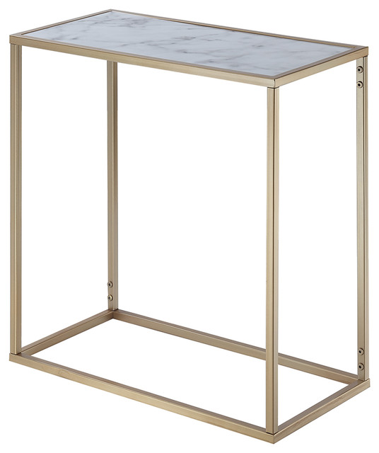 Gold Coast Faux Marble Chairside Table, Gold.