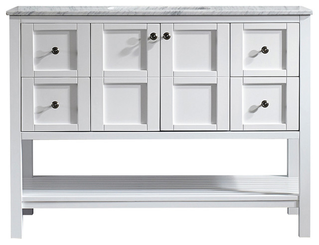 """Florence 48"""" Single Vanity, White, Without Mirror"""