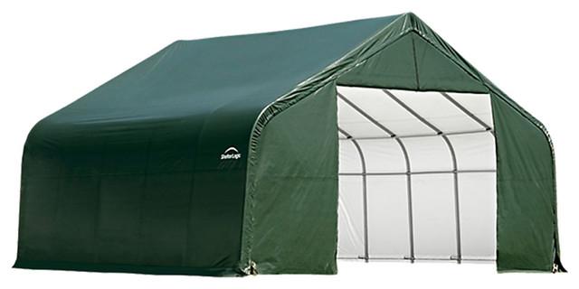 Shelter Logic Outdoor Sheltercoat Garage 16&x27;x36&x27;x16&x27;, Peak Standard, Green.