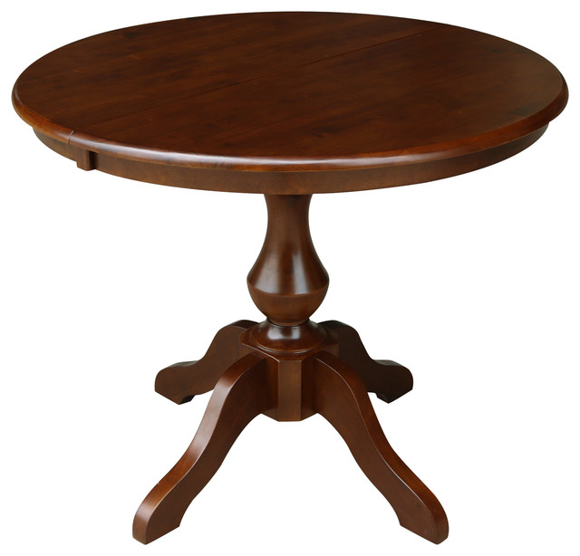 Prime 36 Round Top Pedestal Table With 12 Leaf Dining Height Espresso Home Interior And Landscaping Ferensignezvosmurscom