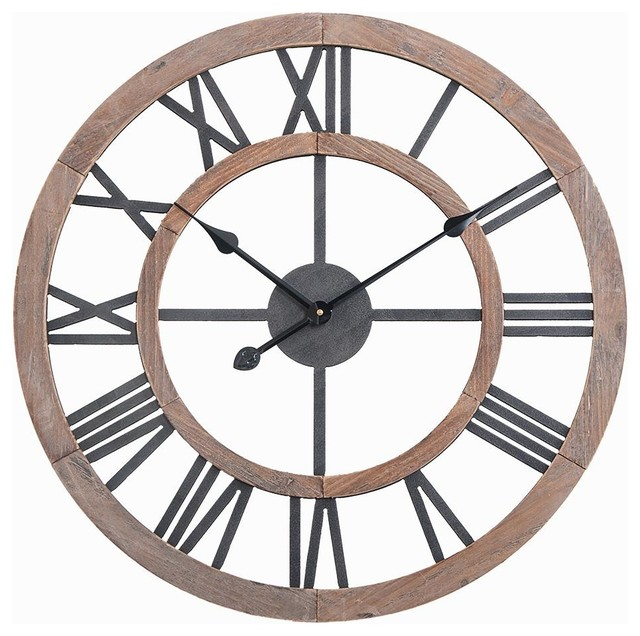 Utopia Alley Oversized Roman Round Wall Clock 24 Multi Tone Wood Finish Industrial Wall Clocks By Dillon And Daria S Designs Llc Houzz