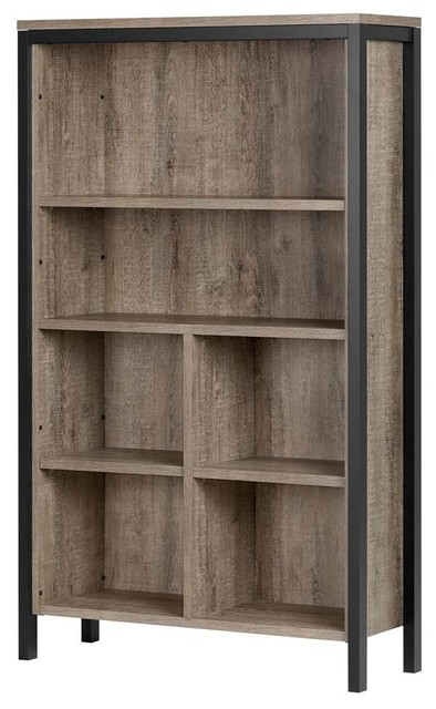 6 Shelf Bookcase With Cubes Weathered Oak And Matte Black